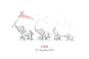 Geburtskarten rot 4 elefanten rosa