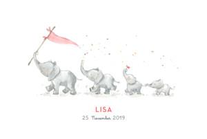 Geburtskarte 4 elefanten rosa