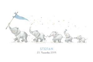 Geburtskarte 5 elefanten blau