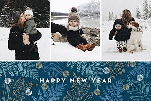Weihnachtskarte Blattgold 5 fotos blau