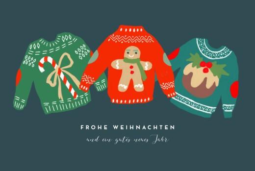 Weihnachtskarten Weihnachtspullover blau