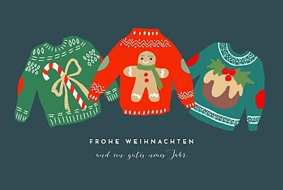 Weihnachtskarten Weihnachtspullover blau finition