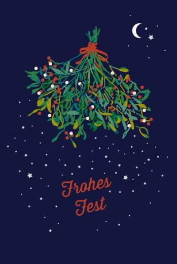 Weihnachtskarten Mistelzweig blau