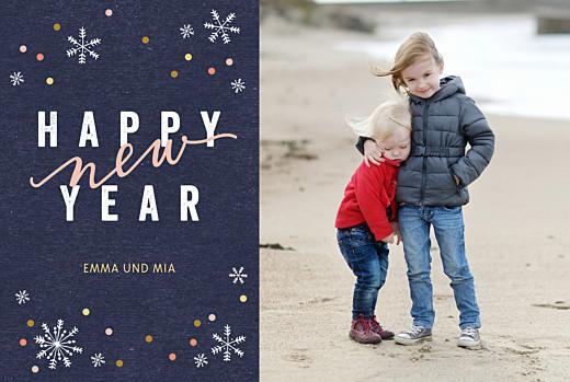 Weihnachtskarte Neujahrsschnee blau