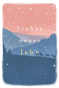Weihnachtskarte Wintermorgen blau & rot