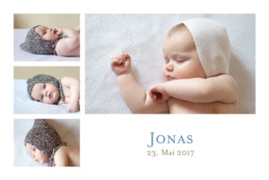 Geburtskarte Klassiker 6 fotos weiss