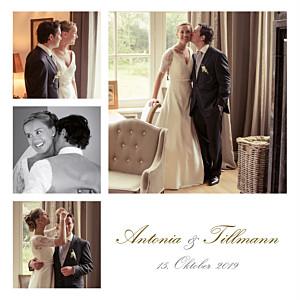Dankeskarten Hochzeit Klassisch 6 fotos weiß