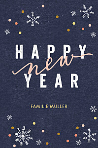 Weihnachtskarten originell neujahrsschnee (klappkarte) blau