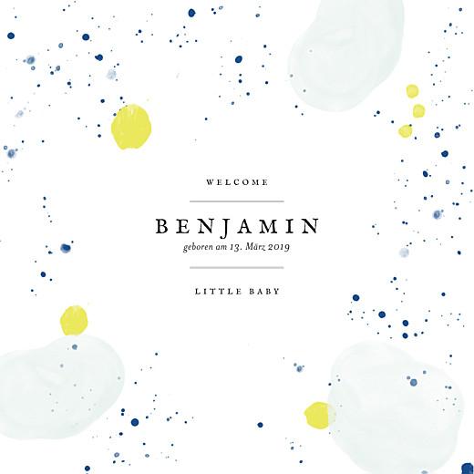Geburtskarten Pastell tupfer klappkarte blau-gelb