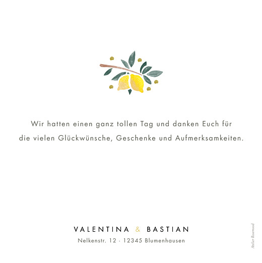 Dankeskarten Hochzeit Palermo weiß - Seite 2
