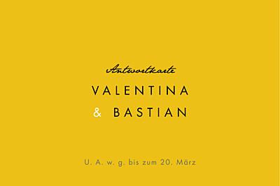 Antwortkarte Hochzeit Palermo weiß & gelb finition