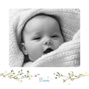 Geburtskarte Frühlingsgruß blau