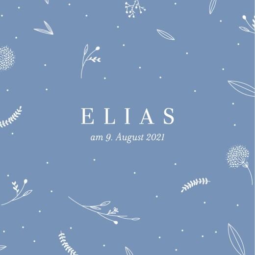 Geburtskarten Liebliches blattwerk leporello blau