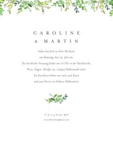 Hochzeitseinladung Naturschmuck (portrait) grün
