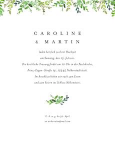 Hochzeitseinladungen naturschmuck (portrait) grün