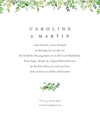 Hochzeitseinladung Naturschmuck (portrait) grün finition