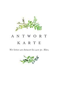 Antwortkarte Hochzeit Naturschmuck grün