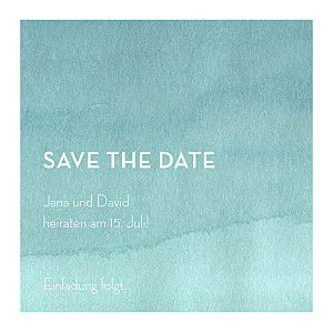 Save-the-date karten ohne foto aquarell blau