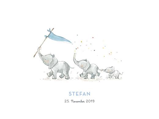 Poster klein 3 elefanten blau
