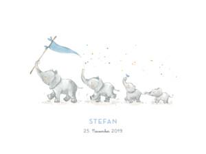 Poster klein 4 elefanten blau