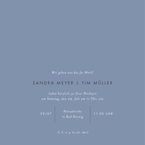 Hochzeitseinladung Liebesbotschaft (gold) blau
