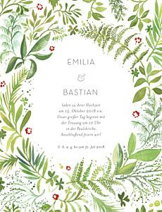 Hochzeitseinladungen waldgeflüster (hoch) grün