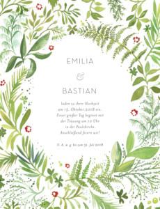 Hochzeitseinladung Waldgeflüster (hoch) grün