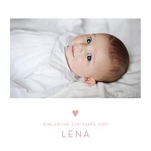 Taufeinladung Klassisch Elegant Herz Foto Rosa