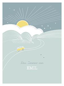 Poster klein Sunshine blau