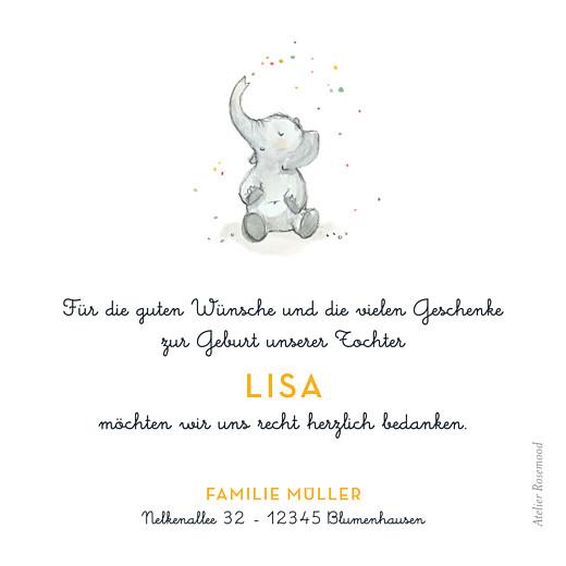 Dankeskarten Kleiner elefant gelb - Seite 2