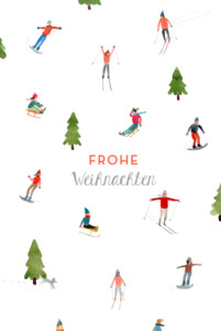 Weihnachtskarten Winterurlaub weiß