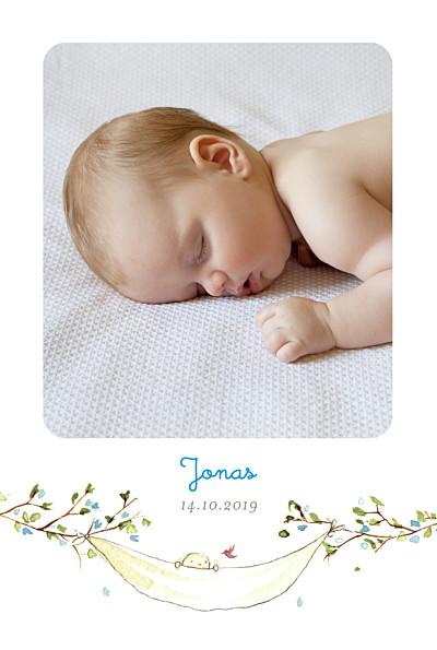 Geburtskarte Frühlingsgruß hoch blau finition