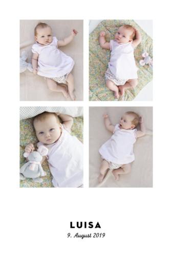 Geburtskarte Sternchen 4 fotos (gold) weiß