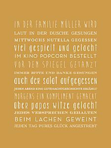 Poster klein unsere familie gelb