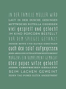 Poster groß ohne foto unsere familie grün
