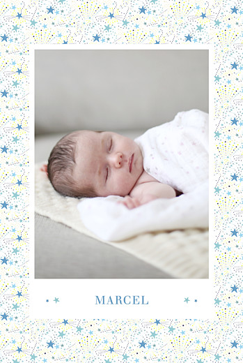 Geburtskarten Liberty sterne hoch blau