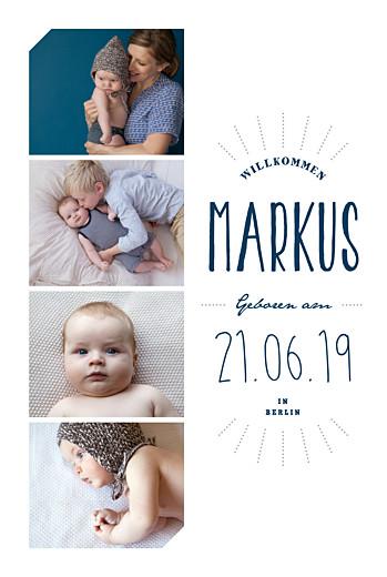 Geburtskarte Willkommensgruß hoch blau