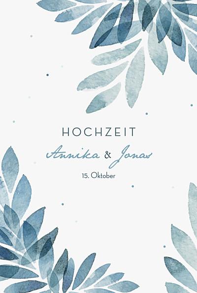 Hochzeitseinladung Sommernacht klein (gold) blau finition
