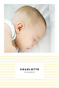 Geburtskarten gelb pastellstreifen portrait gelb