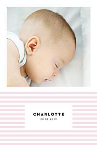 Geburtskarten violett pastellstreifen portrait rosa