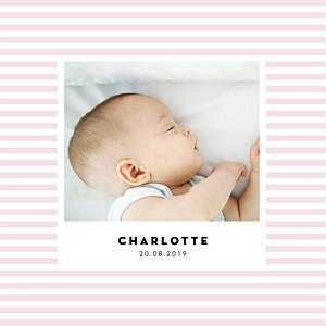 Geburtskarten violett pastellstreifen klappkarte rosa