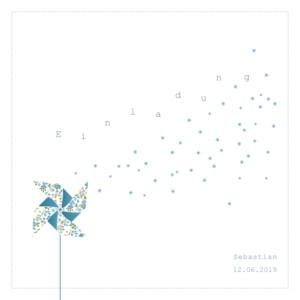 Taufeinladung Windrad weiss & blau