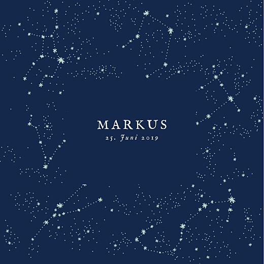 Geburtskarten Universum (klappkarte) nachtblau