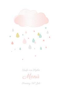 Menükarten Taufe Bunter regen rosa