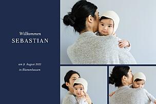 Geburtskarten grau liebliches blattwerk fotos gold blau