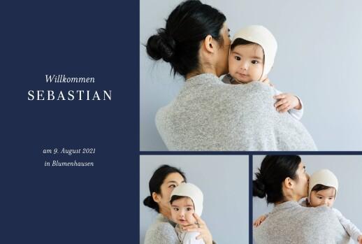 Geburtskarte Liebliches blattwerk fotos gold blau