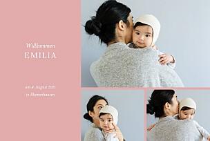Geburtskarten rosa liebliches blattwerk fotos gold rosa