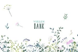 Dankeskarten hochzeit mit foto wildblumen foto rosa