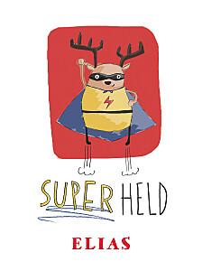 Poster groß Superheld rot