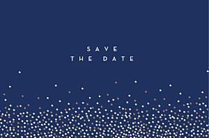 Save-the-date karte ohne foto confetti blau